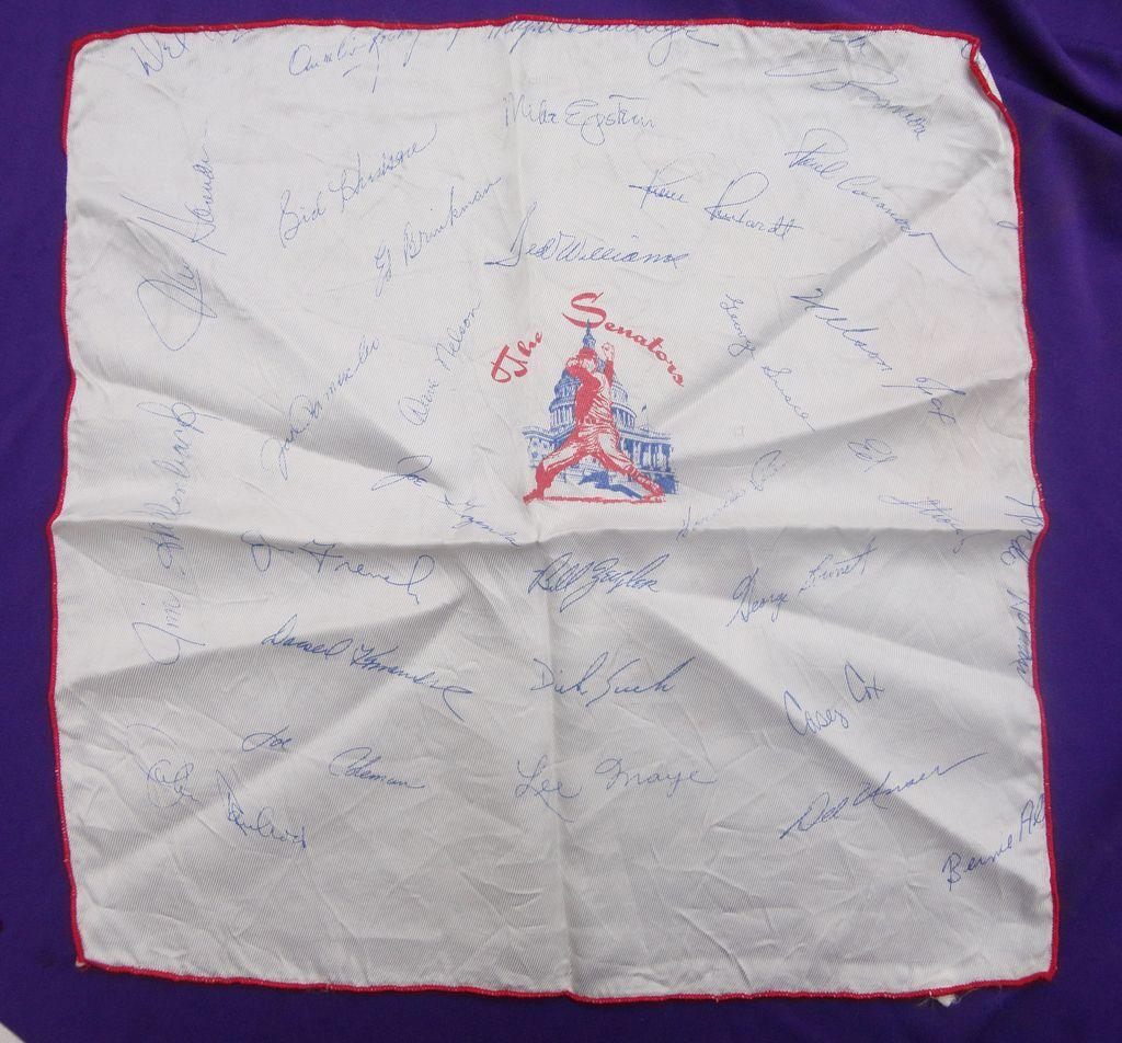 1969 Washington Senators Baseball Silk Team handkerchief Ted Williams