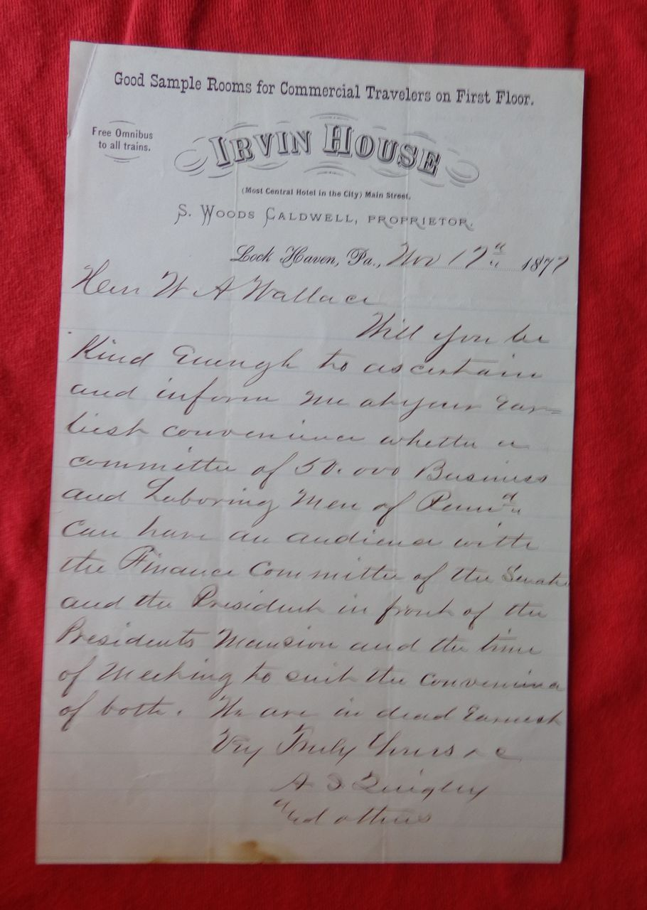 GREAT STRIKE of 1877 Letter Requesting 50,000 men to march on White House