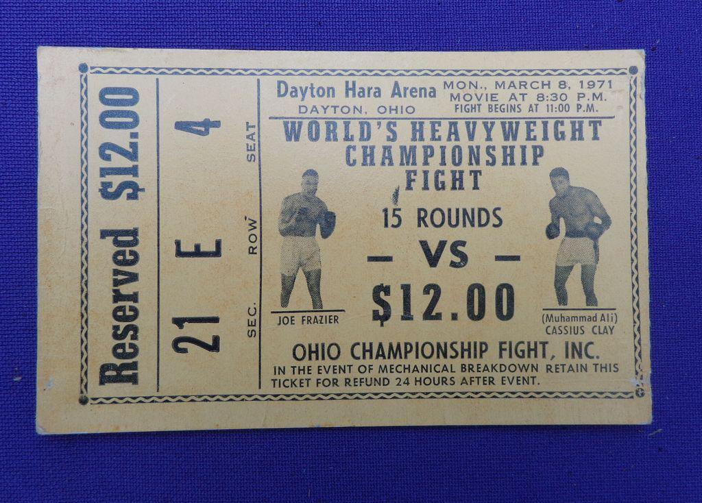 Muhammad Ali & Joe Frazier 1971 Boxing Ticket Hara Arena Dayton,Ohio