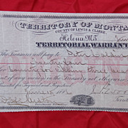 Montana Territory 1886 Warrant for Killing of Three Grizzly Bears !
