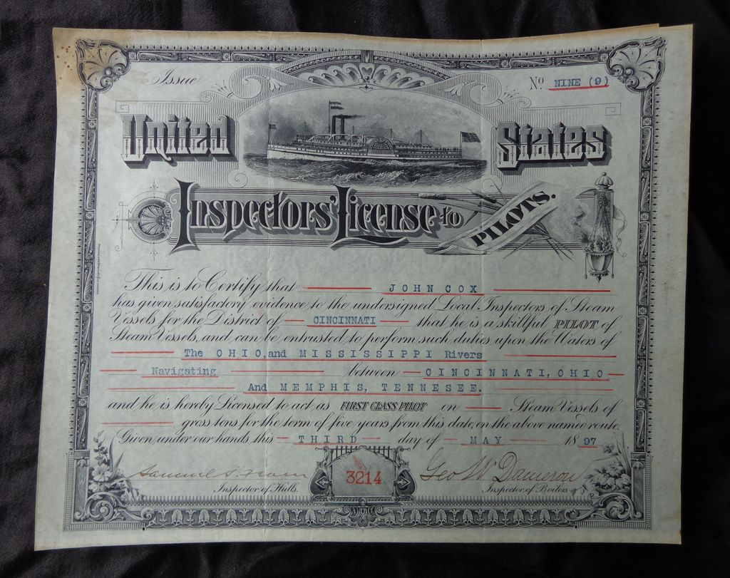 1897 SteamBoat License Certificate John Cox Cincinnati,Ohio
