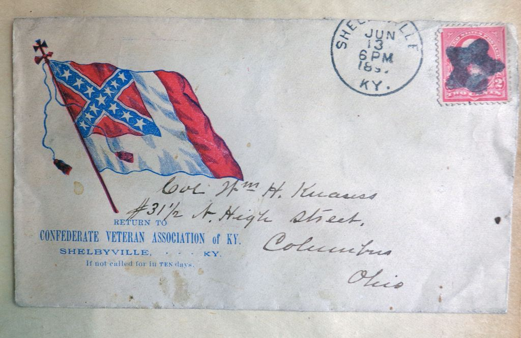 Confederate Cover with Unusual Cancellation Shelbyville,Kentucky