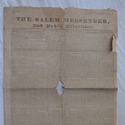The Salem Messenger Newspaper July 30 1831 Trials & Tribulations