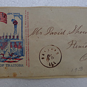 Scarce Civil War Patriotic Cover Jeff Davis being Hanged with Traitors Xenia,Ohio