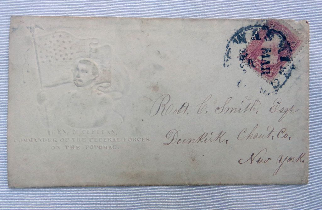 1862 Violet Brown George McClellan Patriotic Cover Commander of the Federal Forces