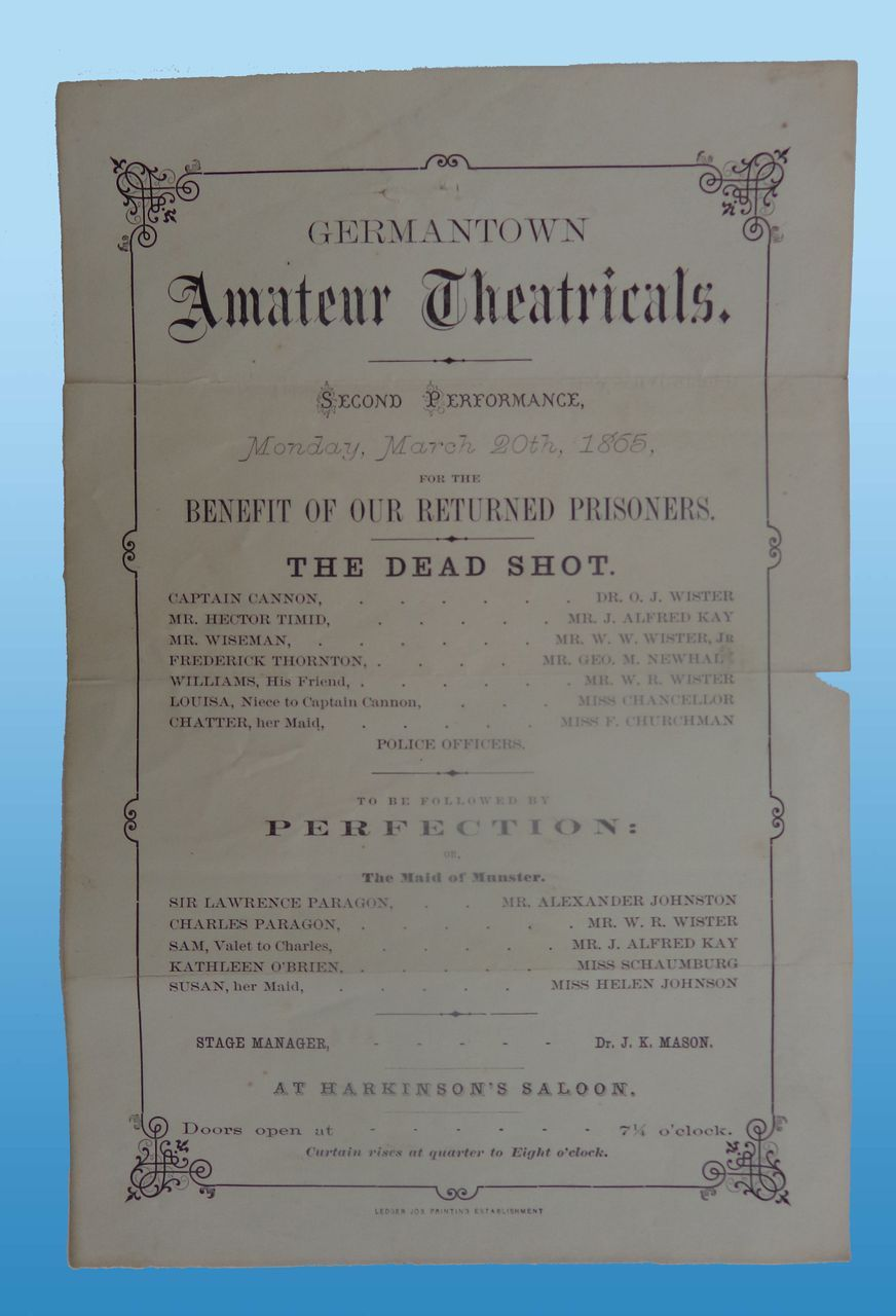 Germantown,Ohio Civil War Benefit Playbill for Returning Prisoners