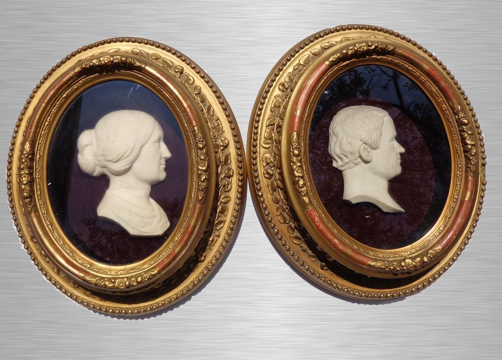 A Pair of Georgian High-Relief Wax Portraits c.1810
