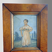 1824 American Watercolor Portrait of Girl with I.D.