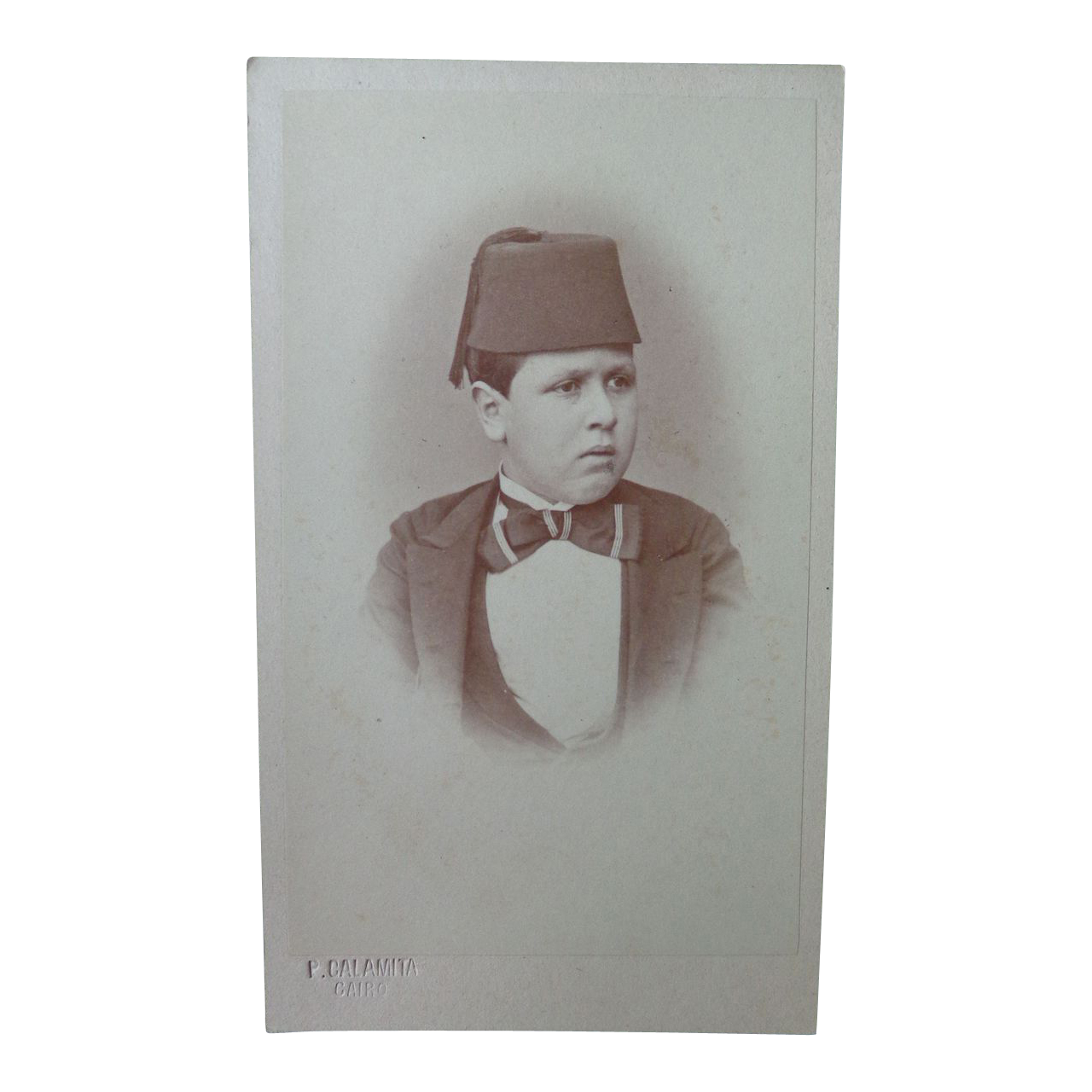 Rare CDV Photograph of Ibrahim Pasha Youngest Son Egypt by Calamita of Cario