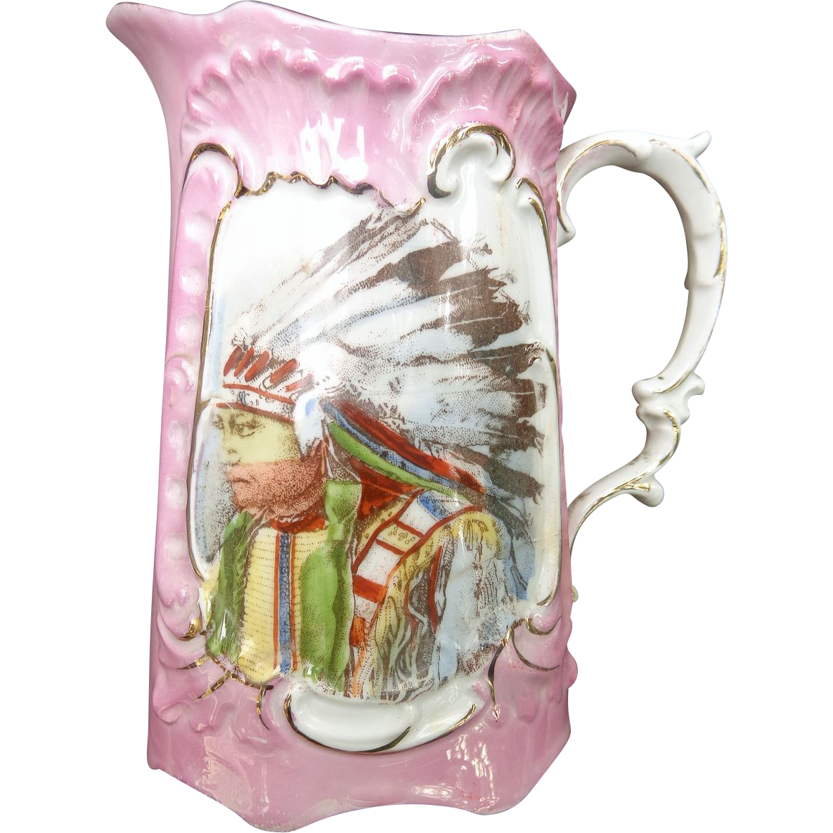 19th century Porcelain Creamer with hand painted Indian Portrait