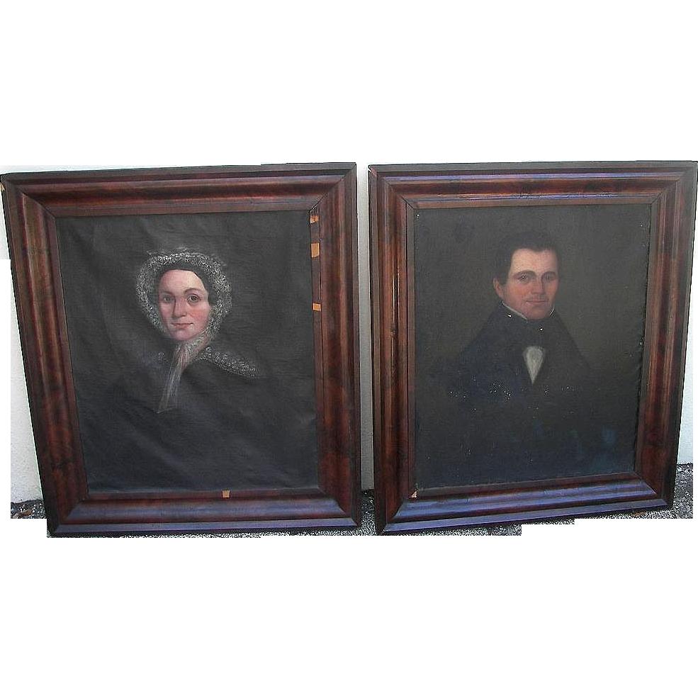 1830 American Oil Portraits of Uriah & Maria Beach Manchester,Michigan