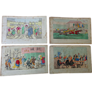 18th century Hand Colored Book Plates Tom & Bob  Drinking Buddies