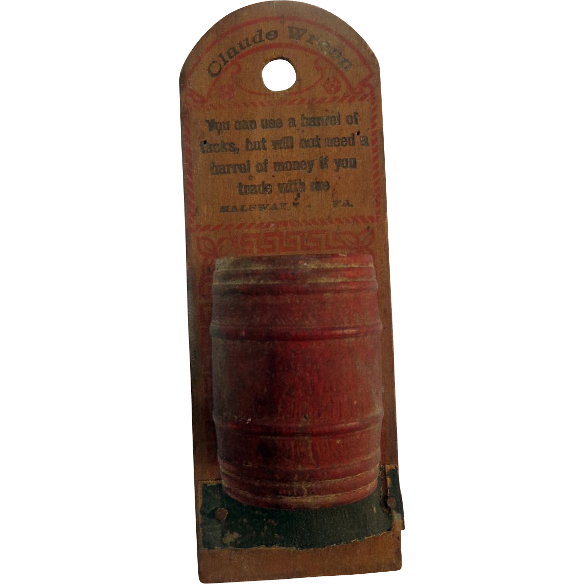 RARE Halfway, Virginia Fauquier County Advertising Barrel from Claude Wrenns General Store