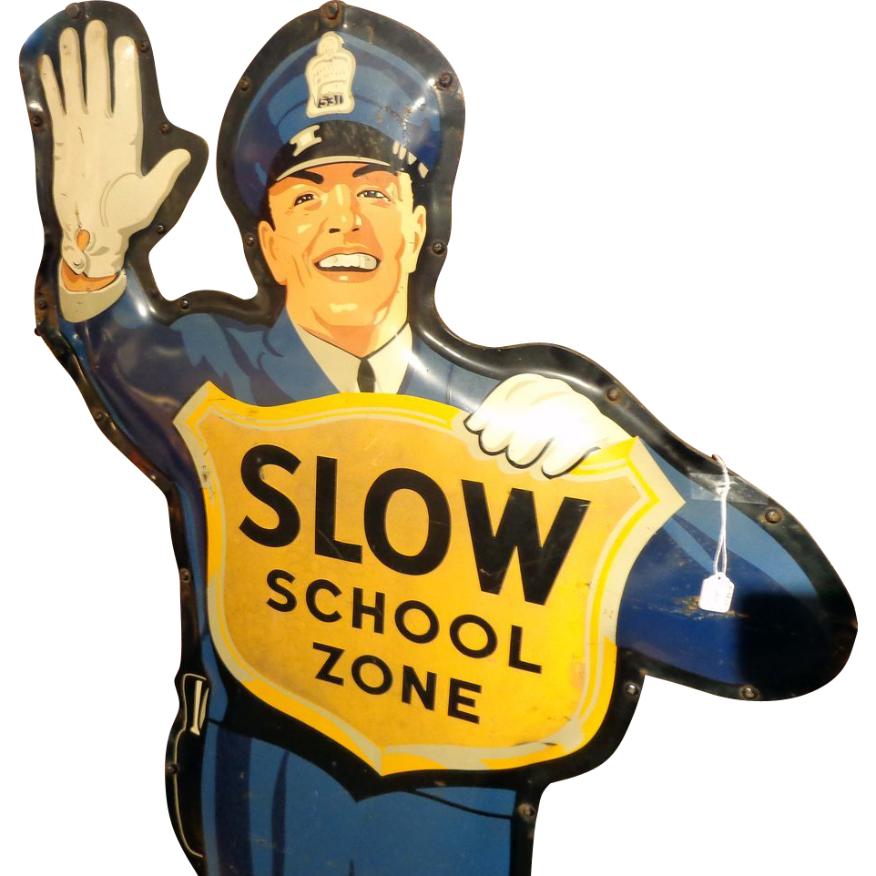 Drink Coca-Cola/ Slow School Zone Large Two-Sided Tin ...