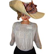1890's Edwardian Ladies Pompadour Ladies Summer Fashion Hat