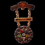 Masonic Eastern Star 10kt. Gold Medal from Wakefield,Rhode Island