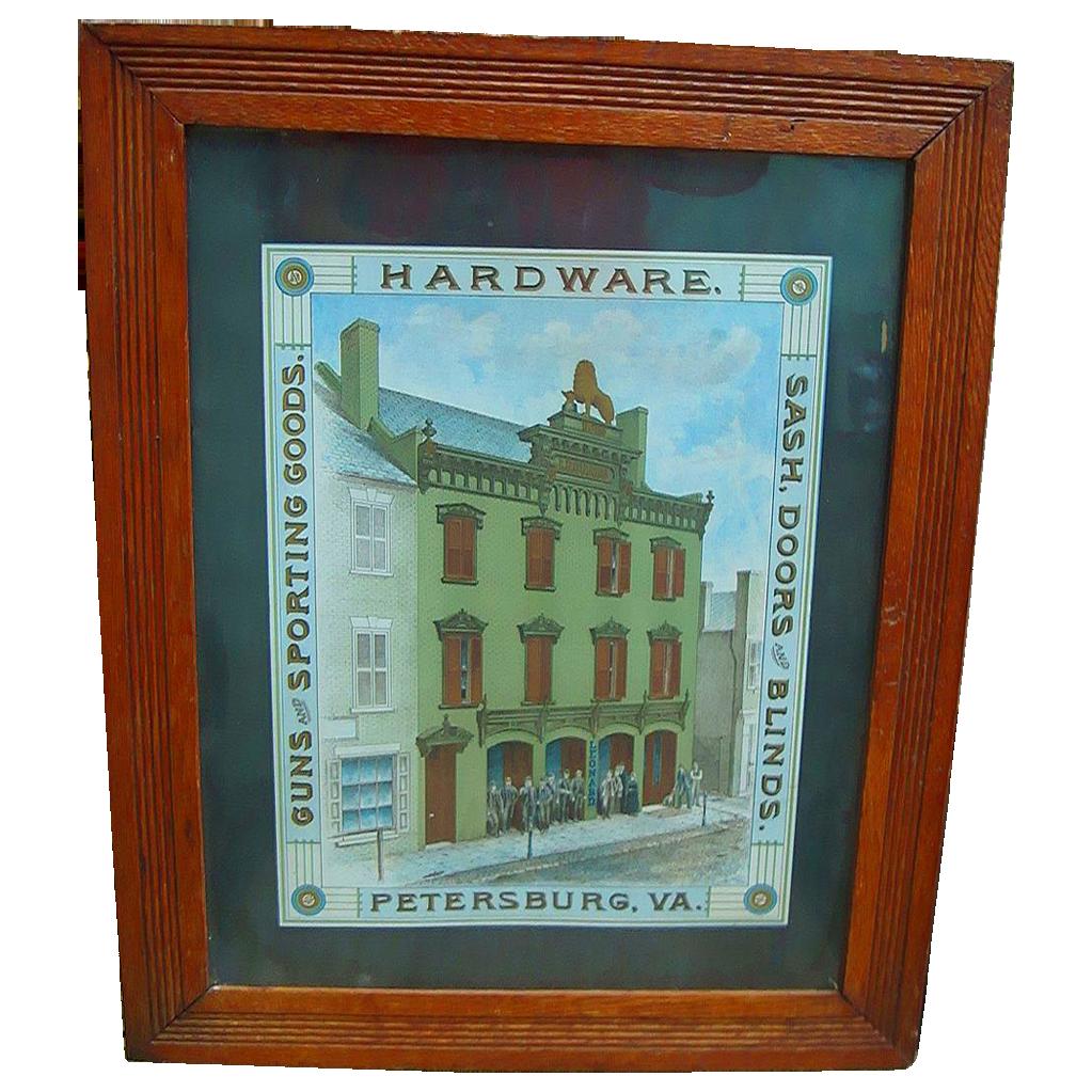 1890's Charles Leonard Hardware Store Petersburg,Va. Advertising Poster