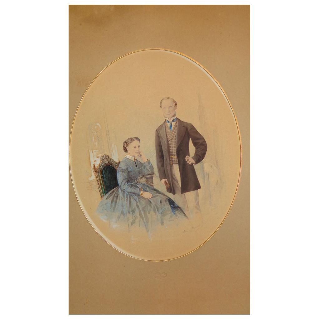 Watercolor portrait of Belfast,Ireland Couple by Marcus Ward & Co.