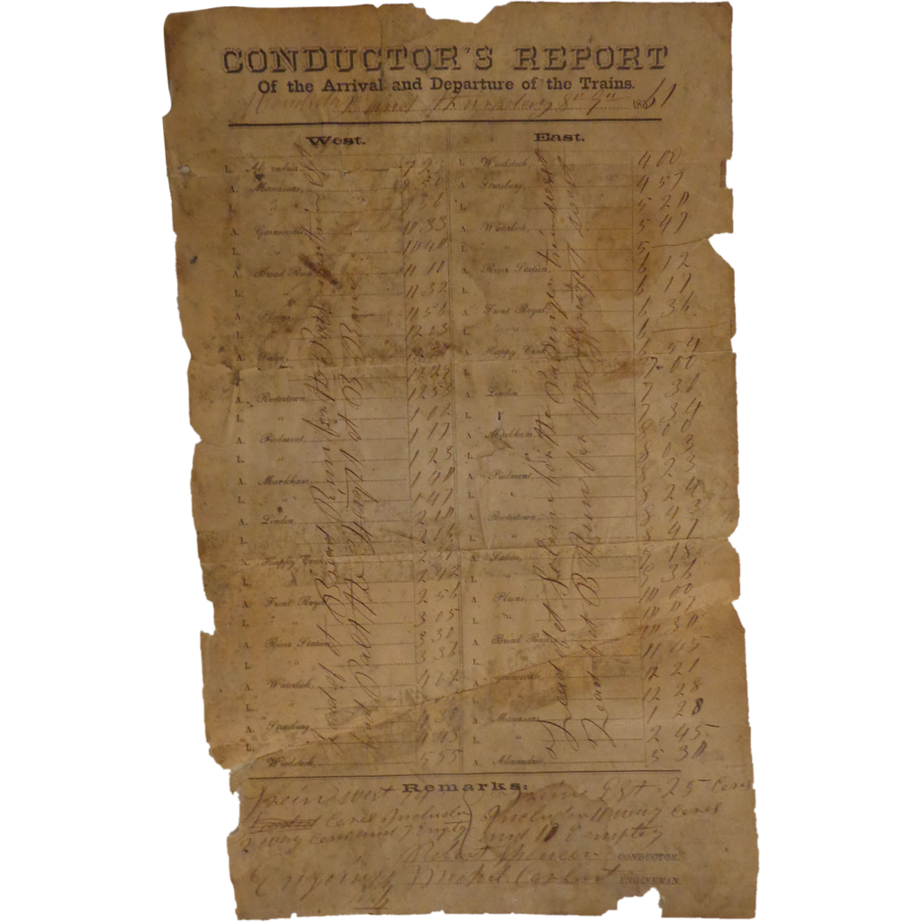 Civil War Alexandria,Va Train Conductors Report 1861