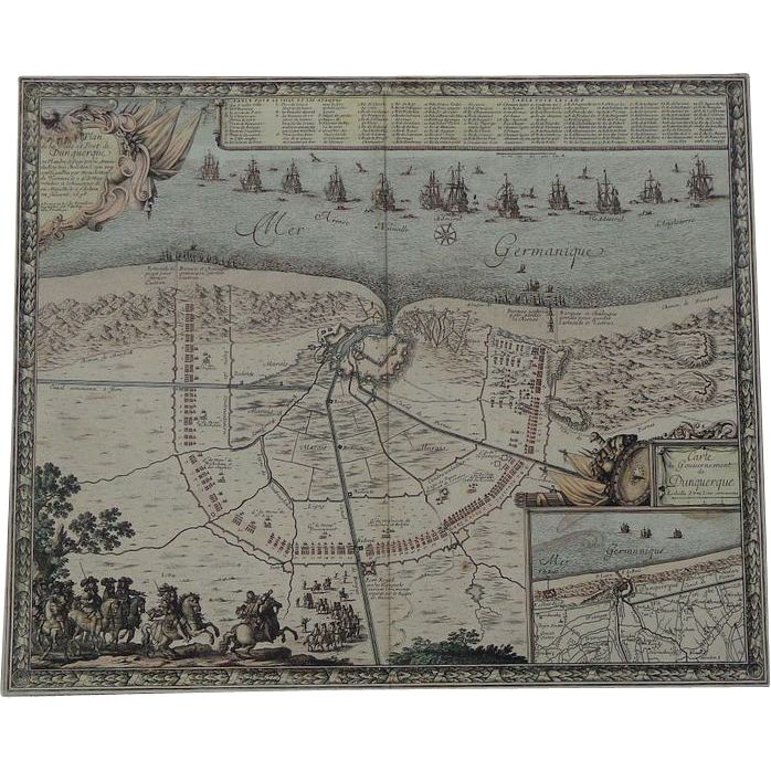 1658 Map of Dunkirk & Louis the Great Conquest