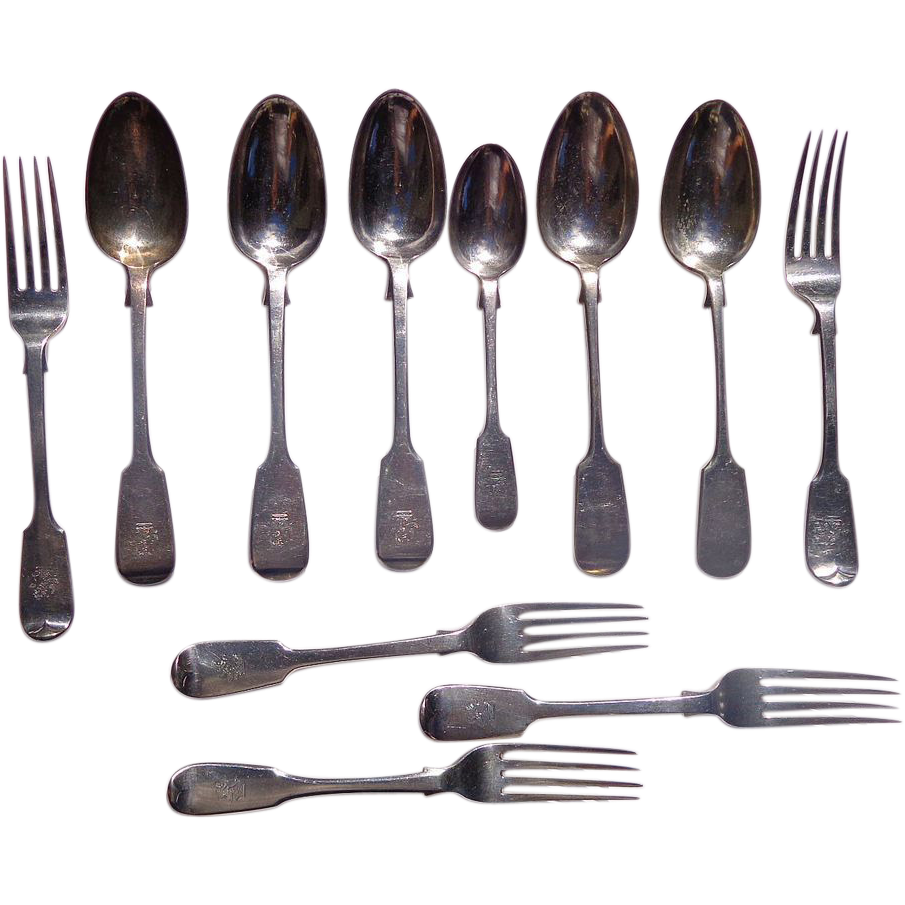 19th century English Sterling Flatware with Lion Crest