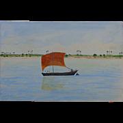 Primitive Folk Art Watercolors of Vietnam c. 1960's
