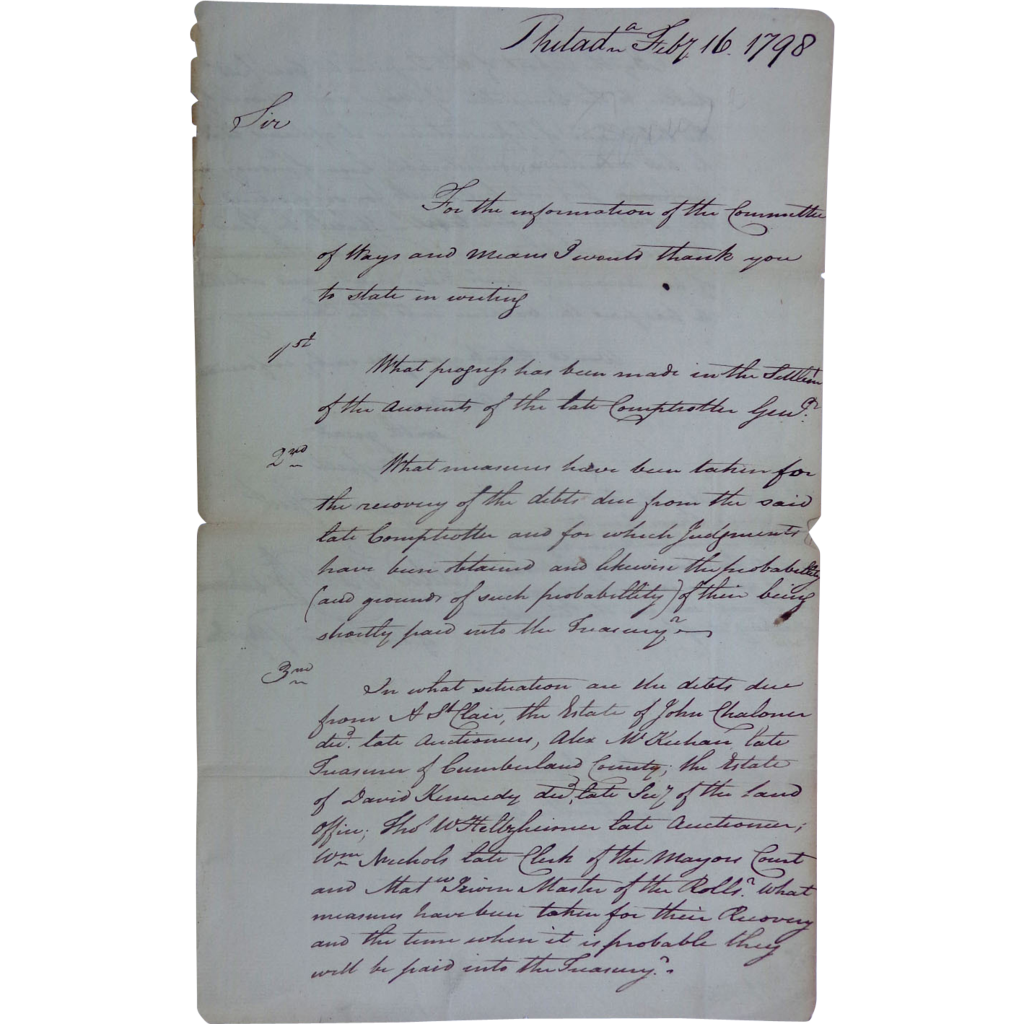 Revolutionary War Interest Signed Letter from Cadwalader Evans Pennsylvania