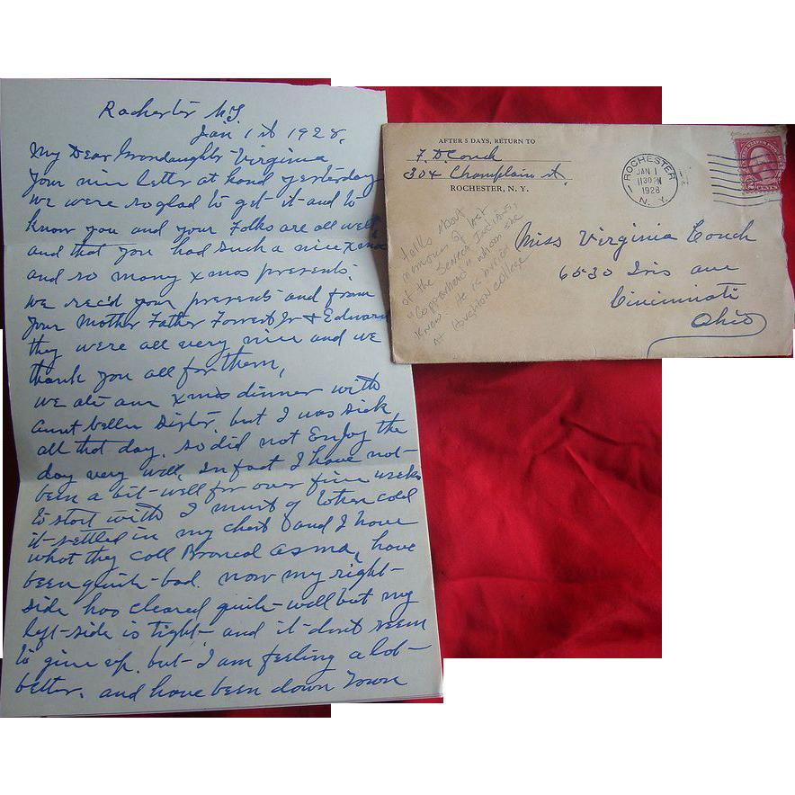 Great Letter describing Copperhead Last of Seneca Indians Rochester,N.Y, 1928