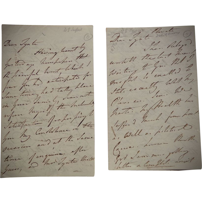 British Royal Family Letters from Lord Sussex dated 1872