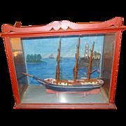 19th century Baltimore Clipper in Diorama Oak Display Case