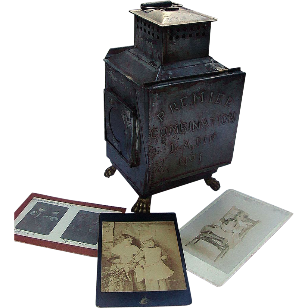 1890's Photographers Kerosene Developing Lantern w/ Gargoyle Feet