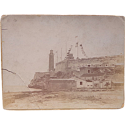 Albumen Photo of Fort Morro Cuba w/ American Flag War of 1898