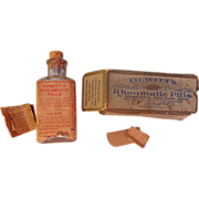 Antique DeWitt's Rheumatic Pills Clear Bottle w/Cork & Box