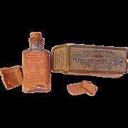 Antique DeWitt's Rheumatic Pills Clear Bottle w/Cork & Box