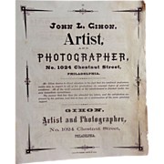 Daguerreotype Photographers Broadside  John L.Gihon Photographer Philadelphia