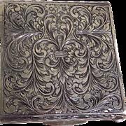 Art Deco Italian Ornate Sterling Silver Ladies Compact