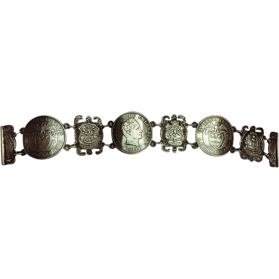 Columbia 50 Cincuenta Centavos Coin Sterling Silver Bracelet from 1934 Property of Former Canadian Dipolmat