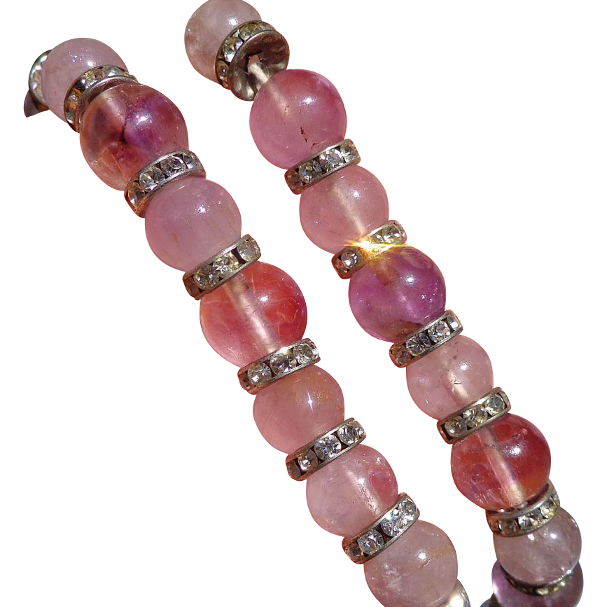 Natural Vintage Amethyst necklace with Swarovski diamonds