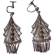 Lovely Italian 800, Fine Silver Art Deco ladies Earrings c.1920's