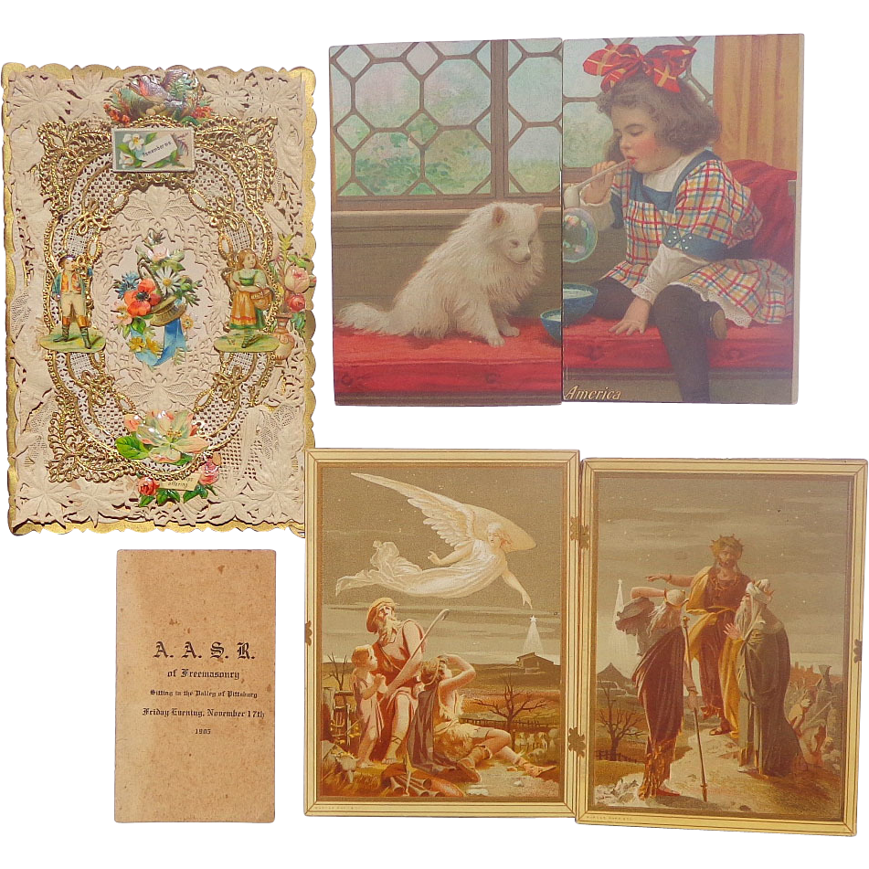 Trade Cards,Die-Cuts and Elaborate  Chromolithography Greeting Cards from one Victorian Lady