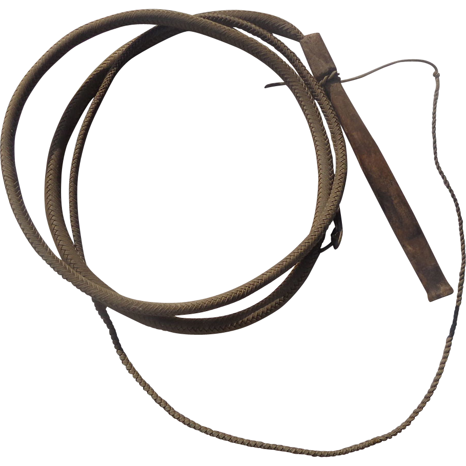 1870's Old West Cowboy Leather Bull  Horse Whip