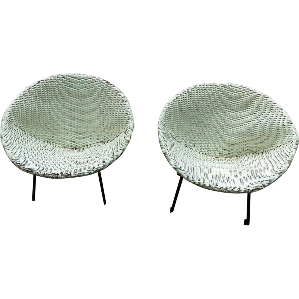 Ginchiest Danish Mid-Modern c.1950's Patio Sphere Chairs