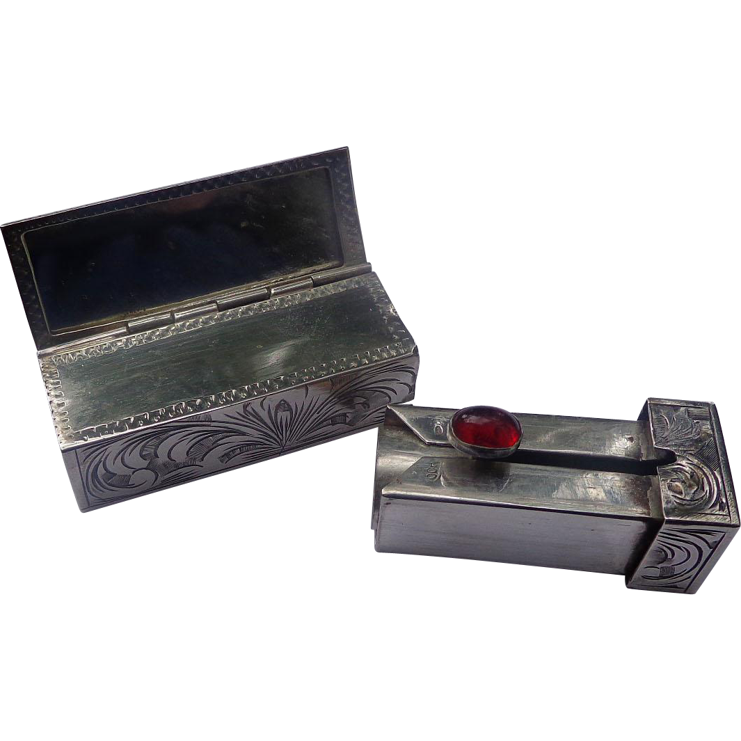Swanky Art Deco Sterling Silver Lipstick holder
