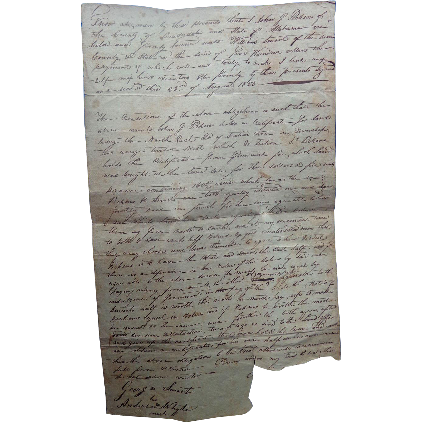 Lauderdale County,Alabama Land Deed John G.Pickens William Smart August 22 1823