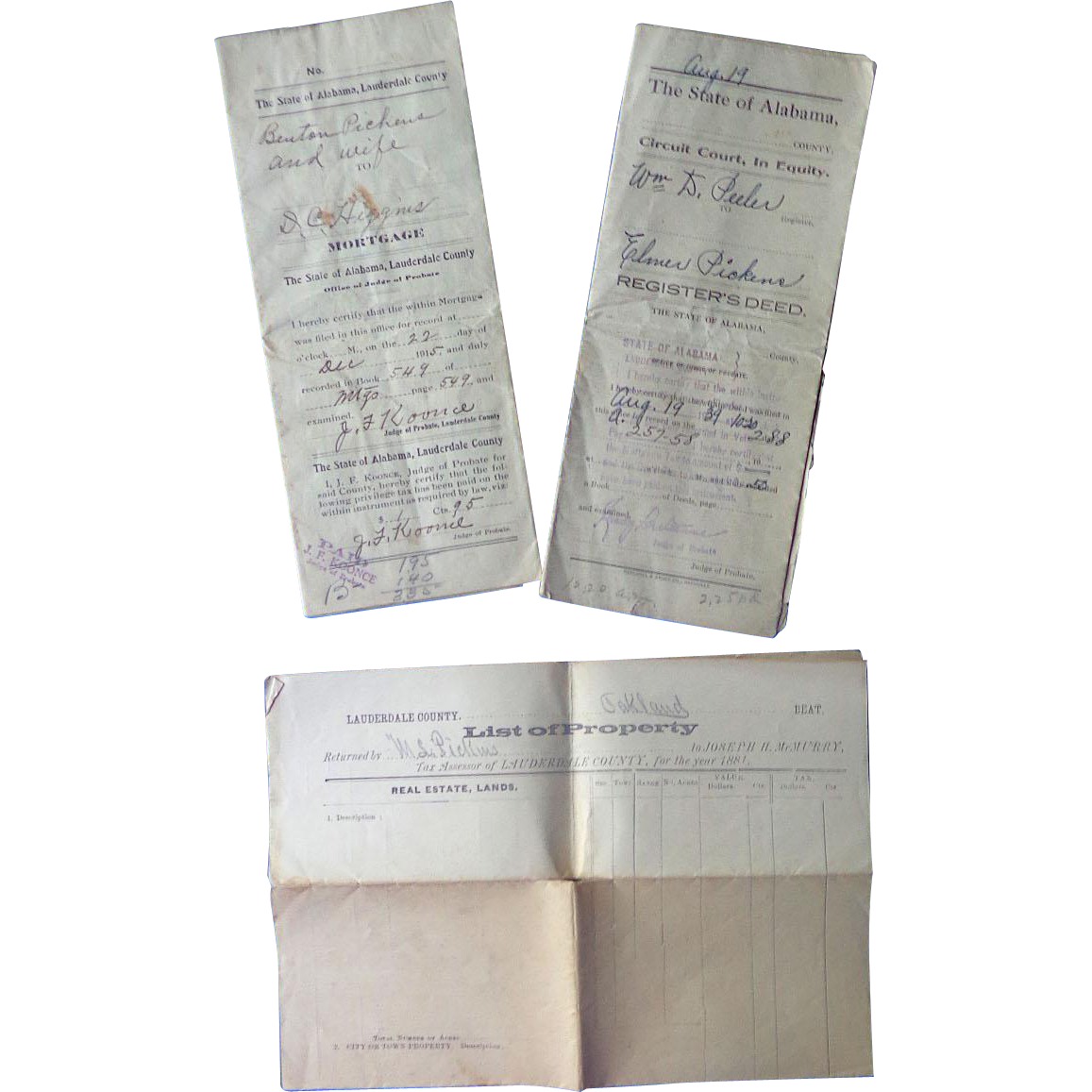 Archive of Legal Documents of Pickens Family of Lauderdale County,Alabama