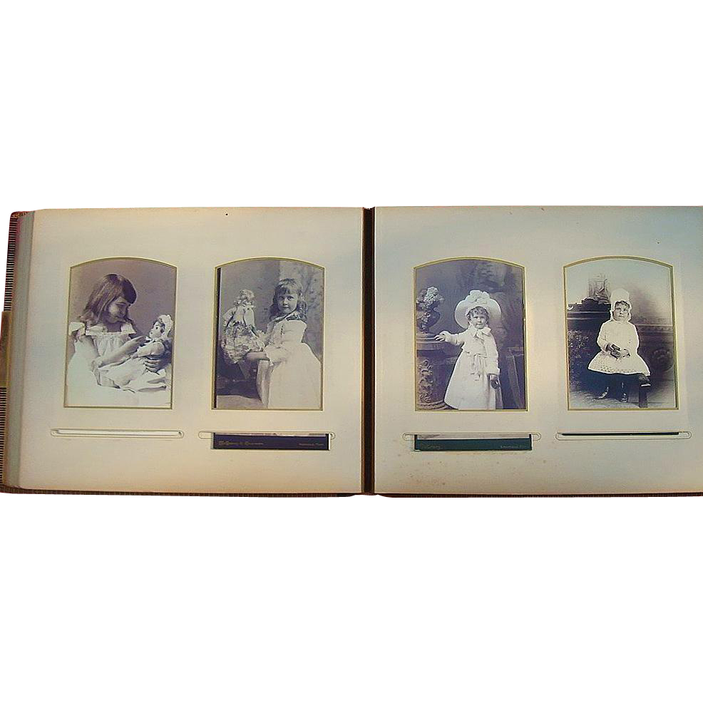 Magnificent Victorian Photo Album of Girls with Dolls, Boys with Guns & Doctors Bar Harbor,Maine