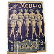 Melillo Sisters Circus Poster c.1920 Paris,France American Tour with Ringling Brothers