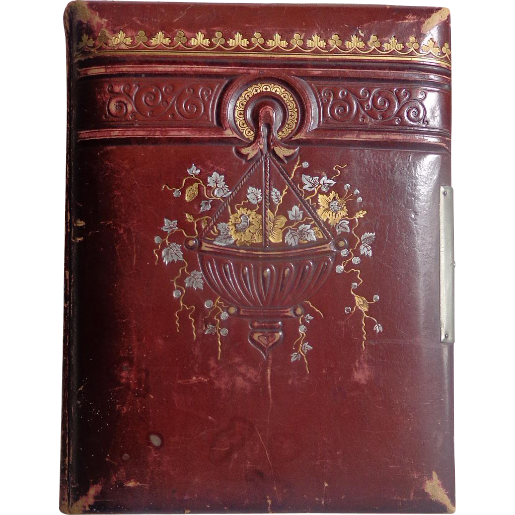 Decatur Illinois Victorian Photo Album In Unique Red Leather Album Dead Peoplesthings Ruby Lane
