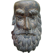 Phenomenal Hand Carved Folk Art Mask of Jesus early 19th century