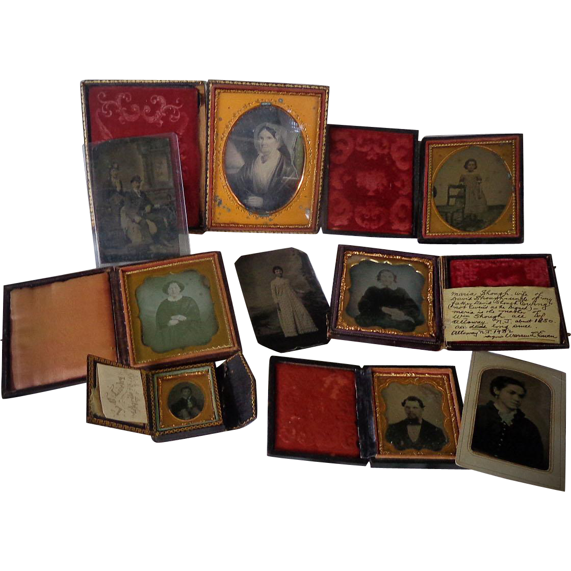 Horace Bundy Daguerreotype Photrographic Archive of David Slough Family Alloway,New Jersey and 114 Year Old Baby